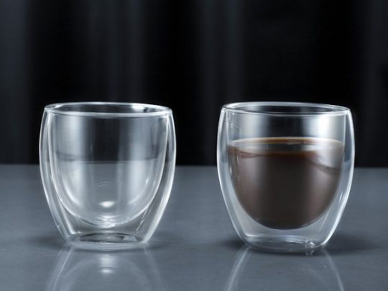Minimal Double Wall Espresso Glass Cup, 270ml / 9oz – Pack of Two